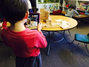 K student sharing his learning of towers through a class blog